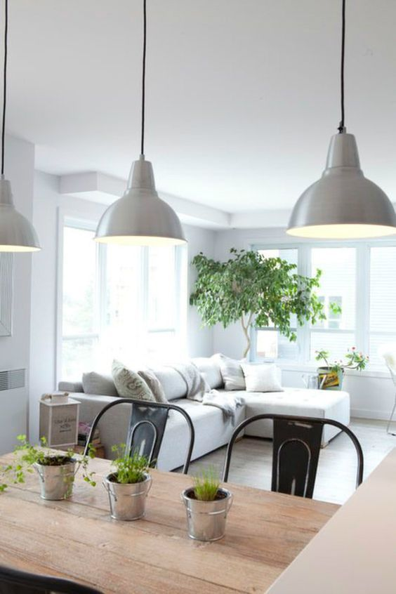 100+ Photo Modern Living Room Decoration Ideas. Grey lampshades and greenery at the windows
