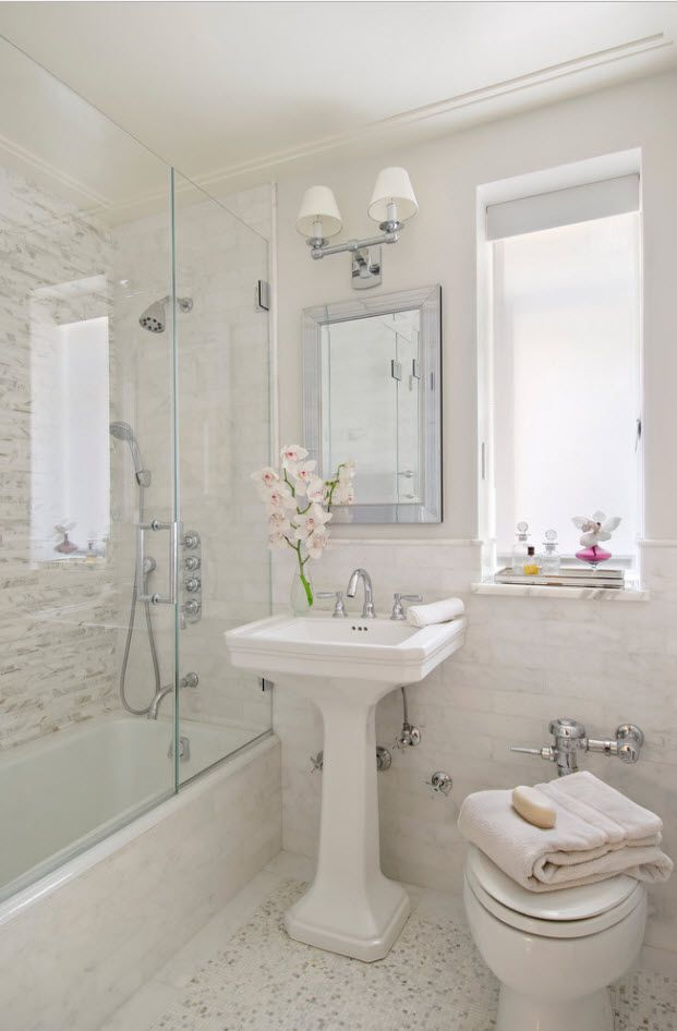 100 Small Bathroom Decoration Modern Design Ideas. Classic setting with subway tiles at the walls