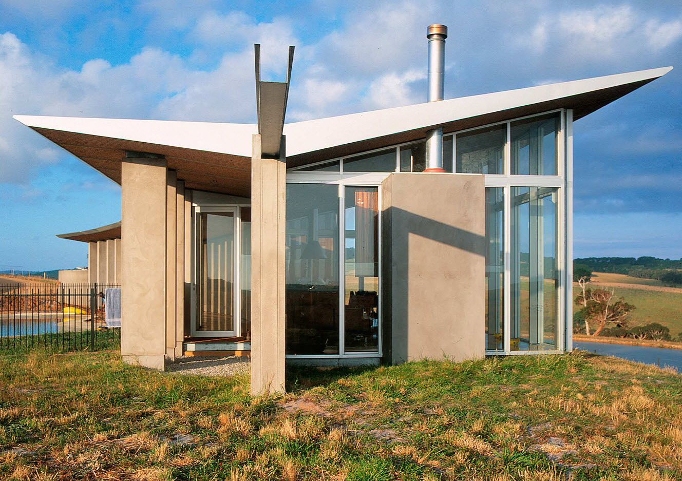 Futuristic design of glass and stone in the American South