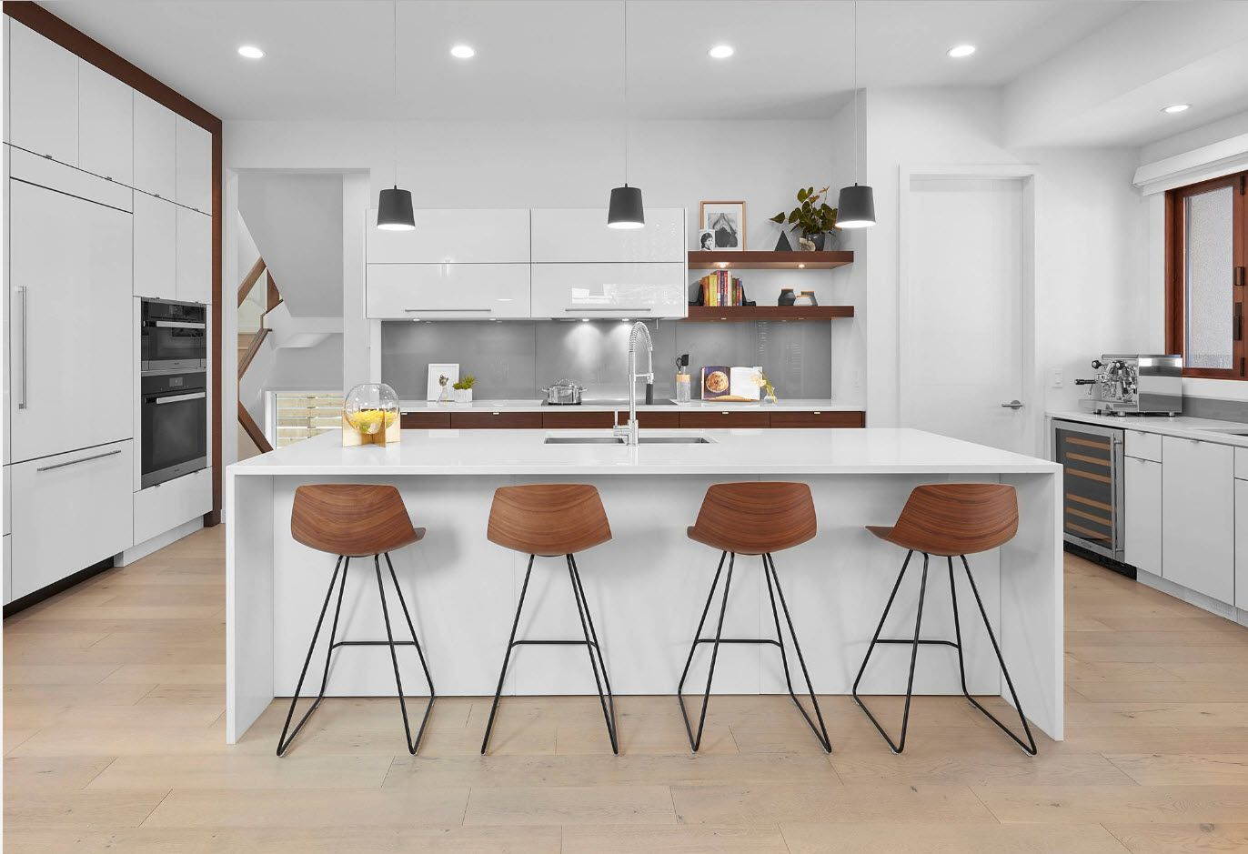 Four chairs of wood in white kitchen