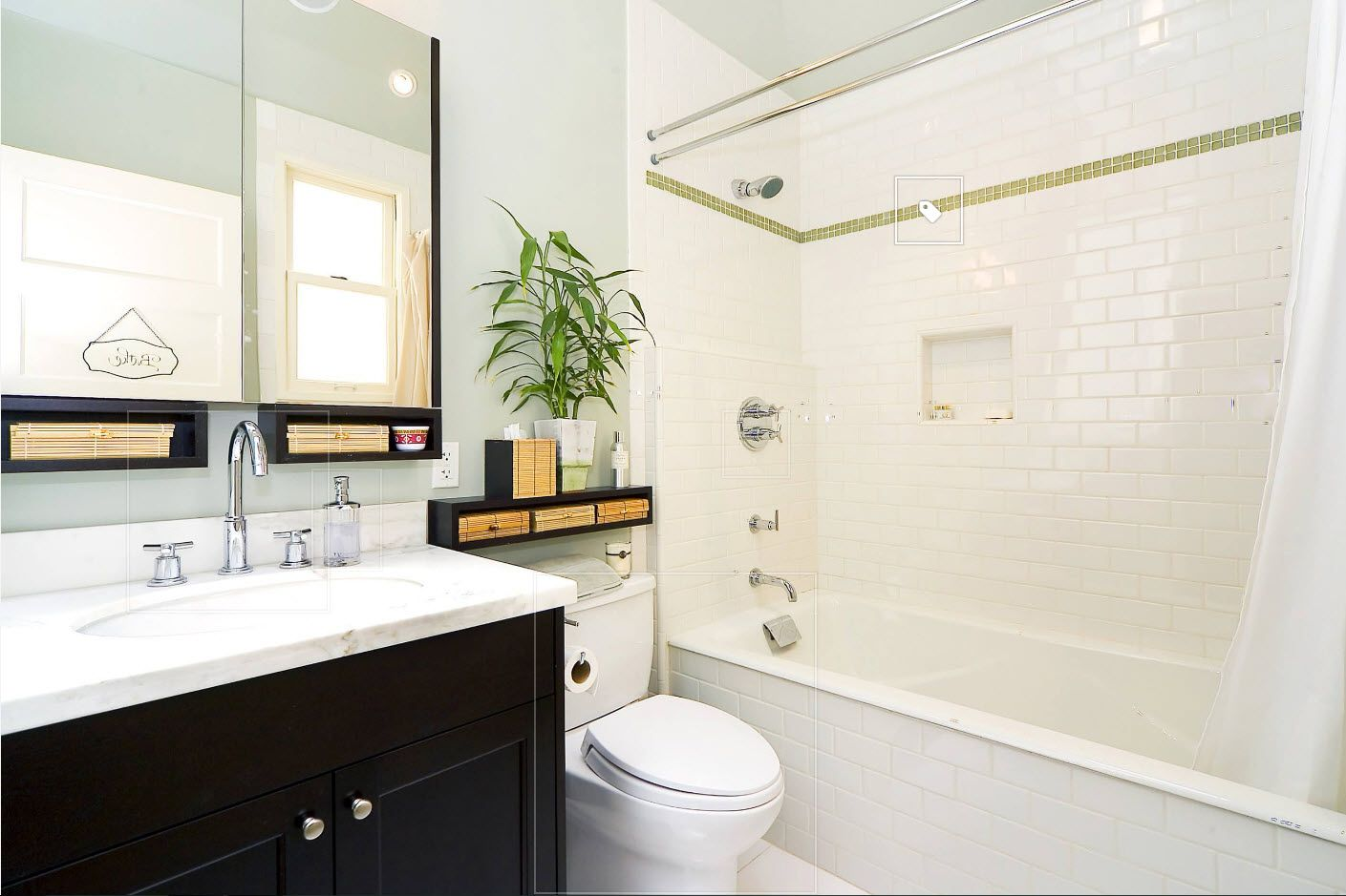 Contemp style at the light pastel colored bathroom