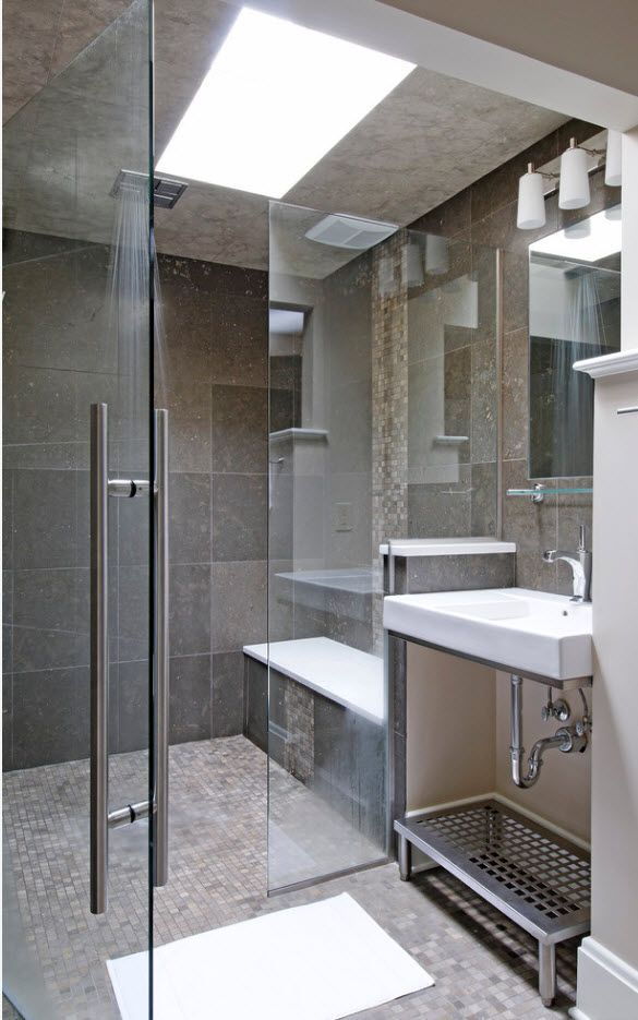 100 Small Bathroom Decoration Modern Design Ideas. Nice contemporary realization in gray hues