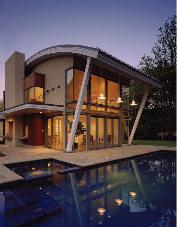 100+ Private House Roofs Beautiful Design Ideas. Impressive futuristic design for the modern two storey house with the ppol and vaulted top