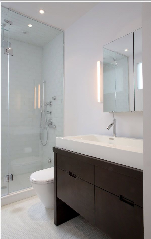 100 Small Bathroom Decoration Modern Design Ideas. White sink and brown airy vanity