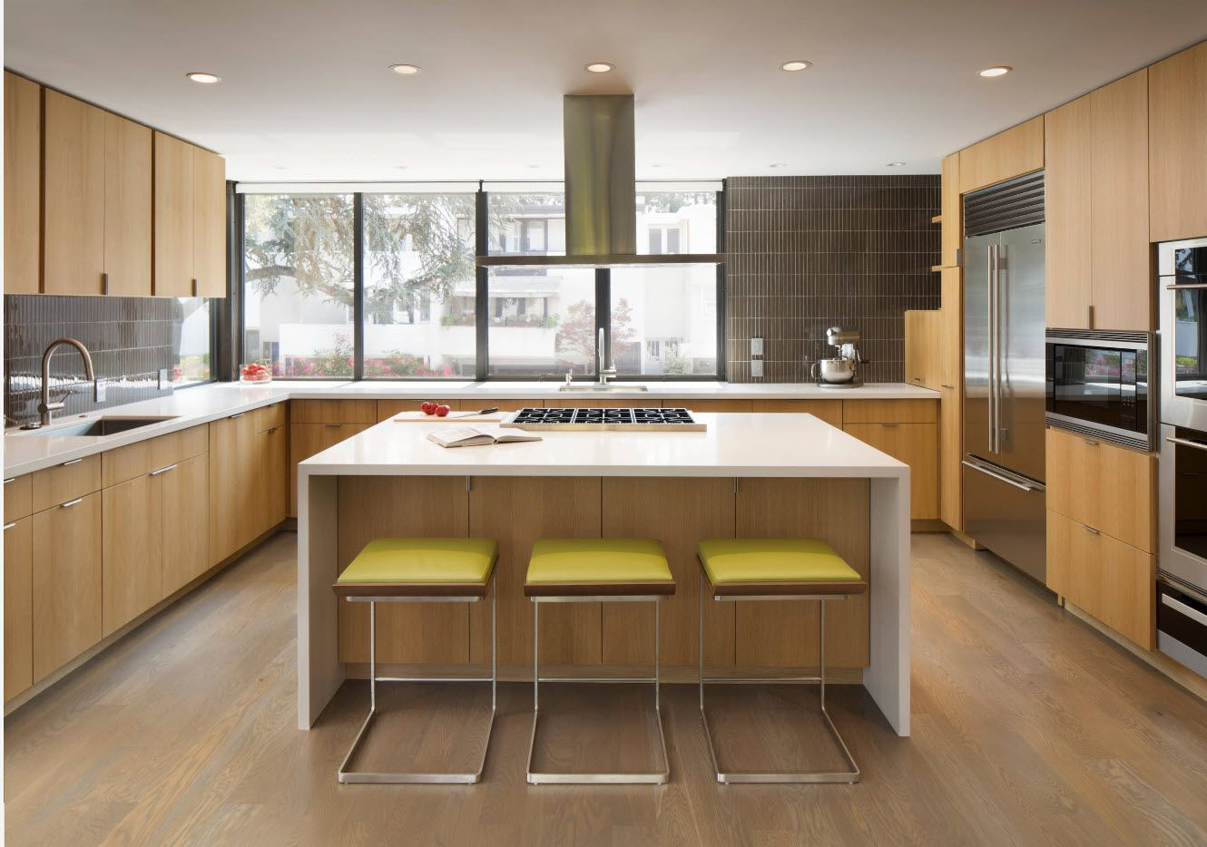 Yellow stools at the plastic trimmed kitchen island