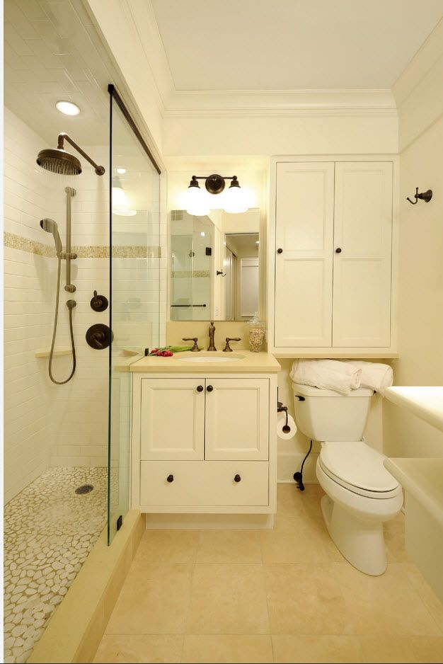 White classic bathroom atmosphere with black fittings