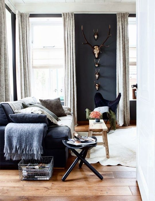 Vintage design with dark blue painted walls