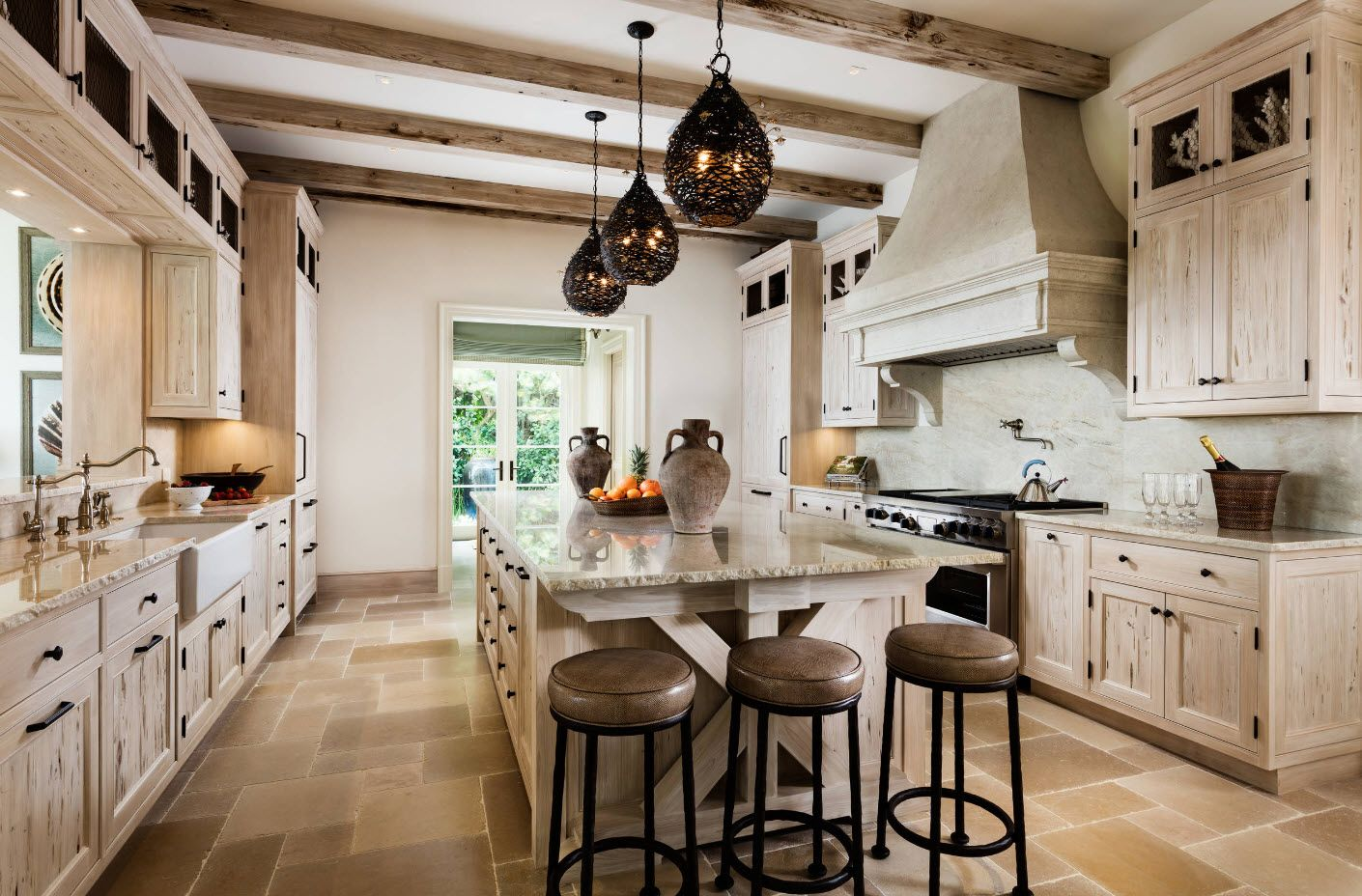 Elongated glossy kitchen island in the Rustic style