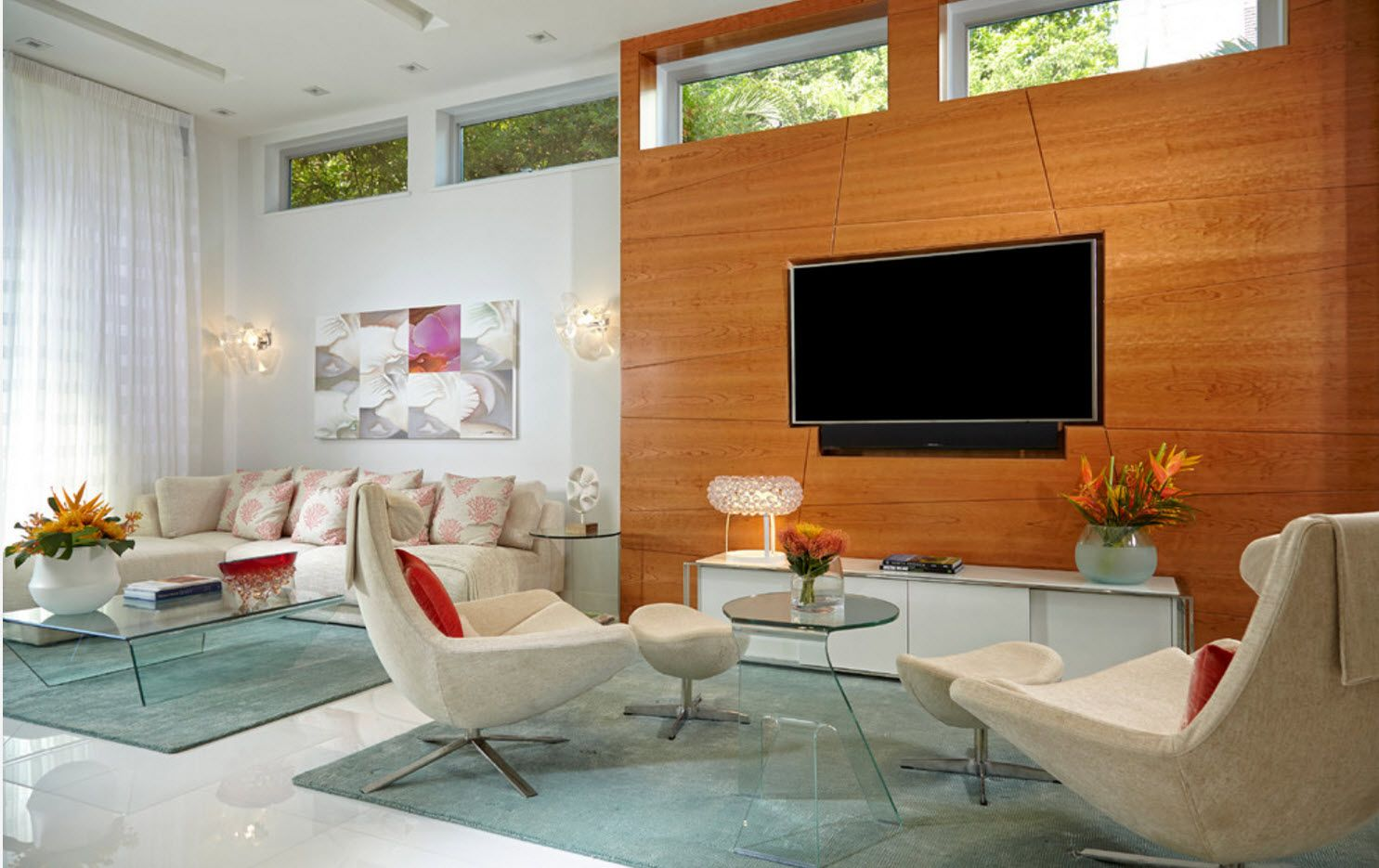 Wooden planked accent wall with LED TV