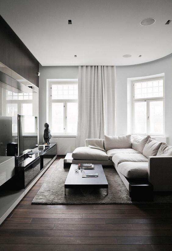 100+ Photo Modern Living Room Decoration Ideas. Gray idyll for pentagonal area