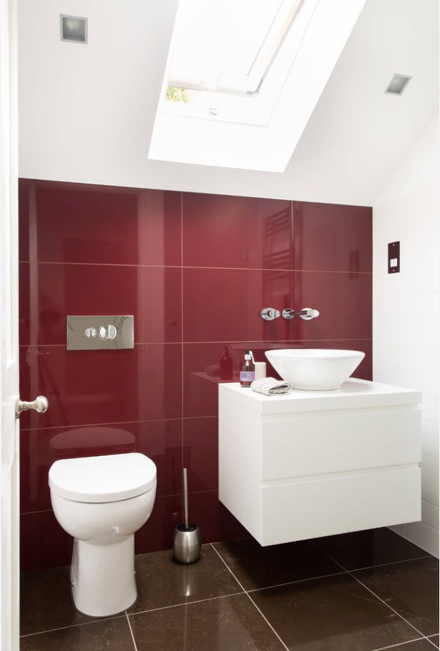 Red accent wall of tiles looks spectacular