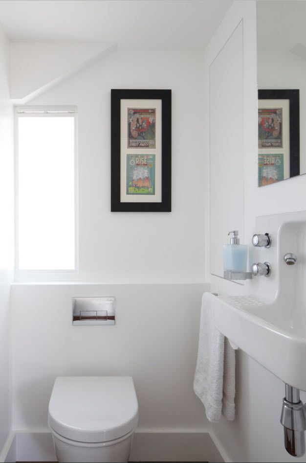 100 Small Bathroom Decoration Modern Design Ideas. Idealy white space with dark picture frame accent