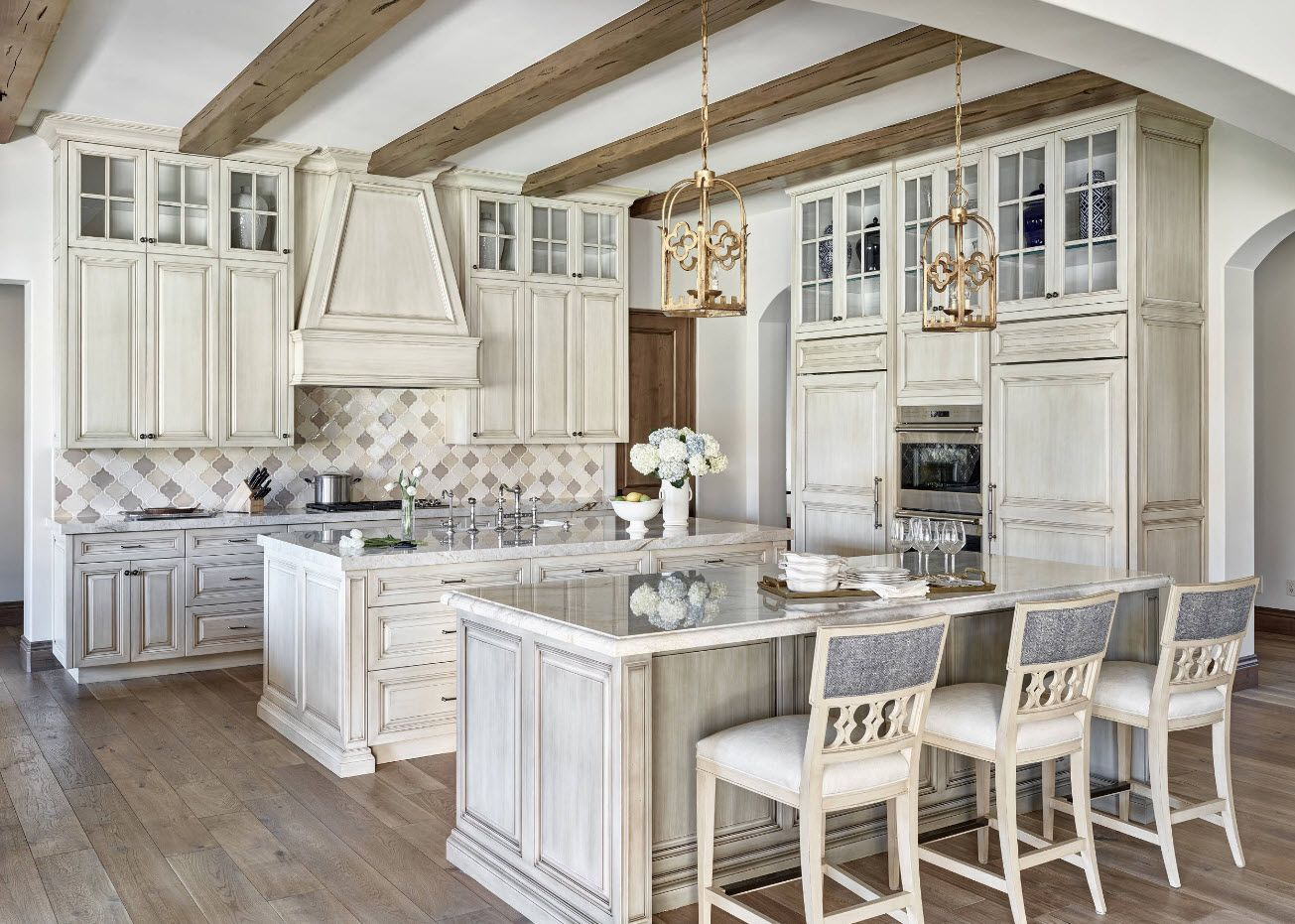 Provence style for the private house's white kitchen