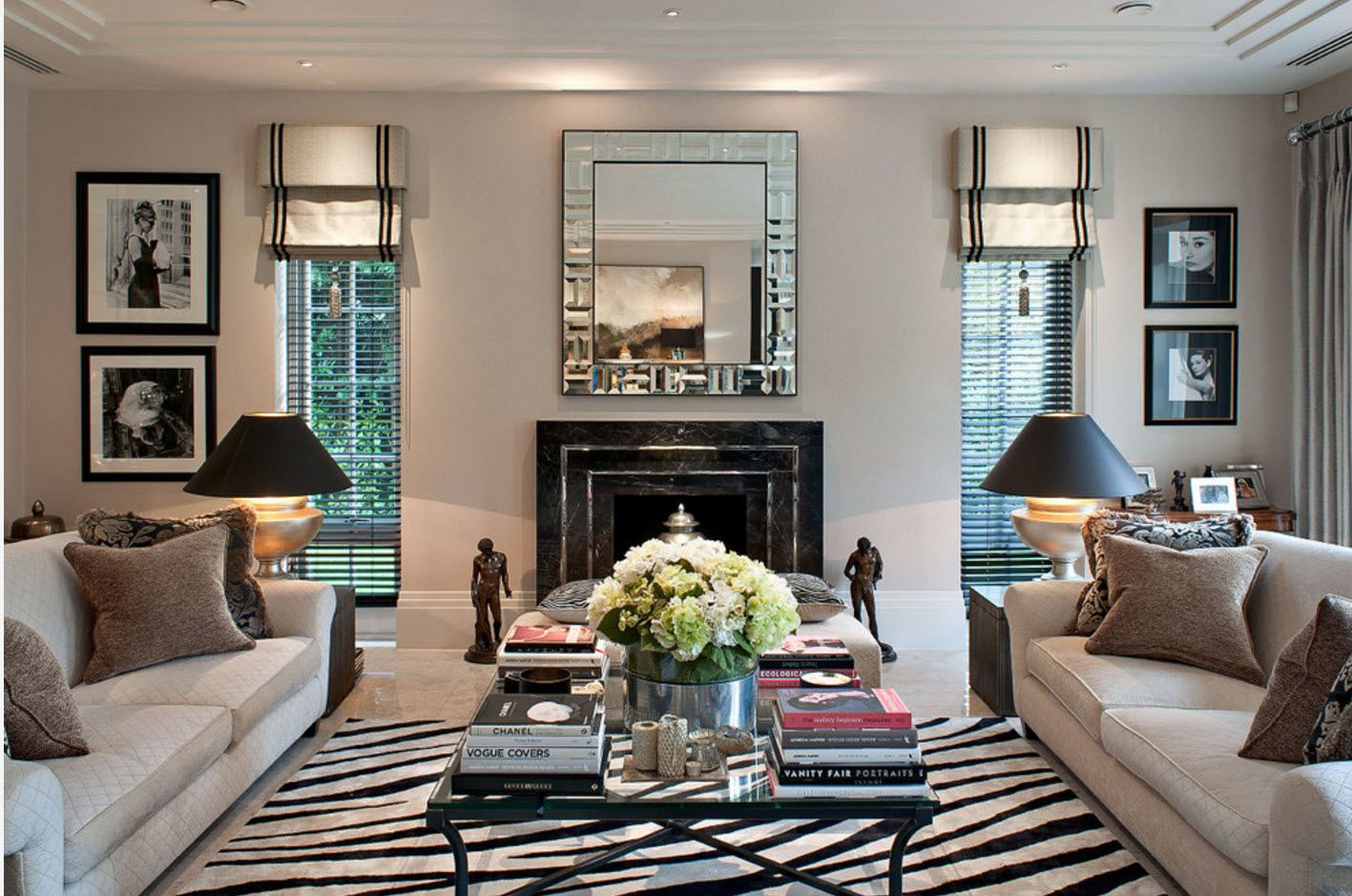 Zebra carpet in the classic living