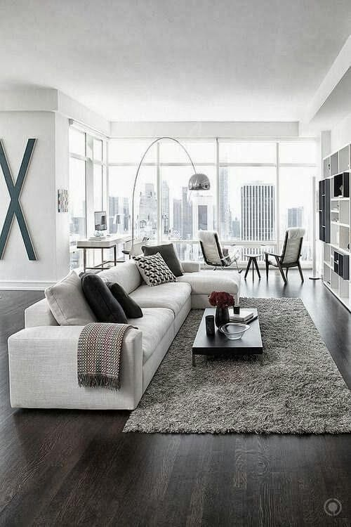 Fluffy rug in the modern Scandinavian styled studio apartment