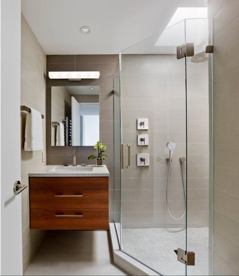 Gray walls and nice hovering dark wooden vanity