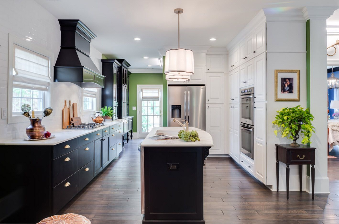 Nice elongated kitchen design with thin kitchen island for cooking