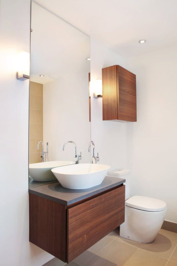 Wooden materials in the white finished bathroom