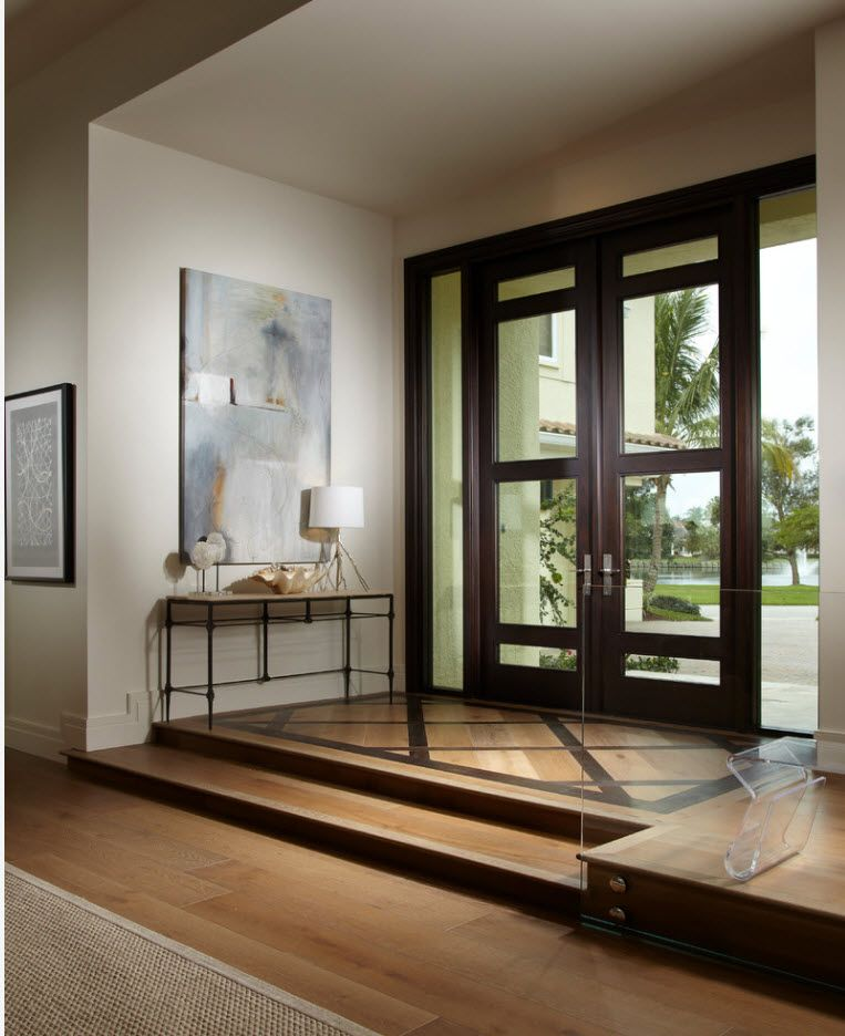 Nice entrance door of wood and glass