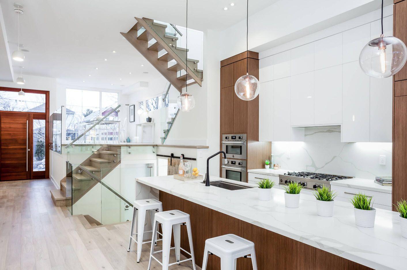 Unusual metallic stairs and hi-tech snow-white design