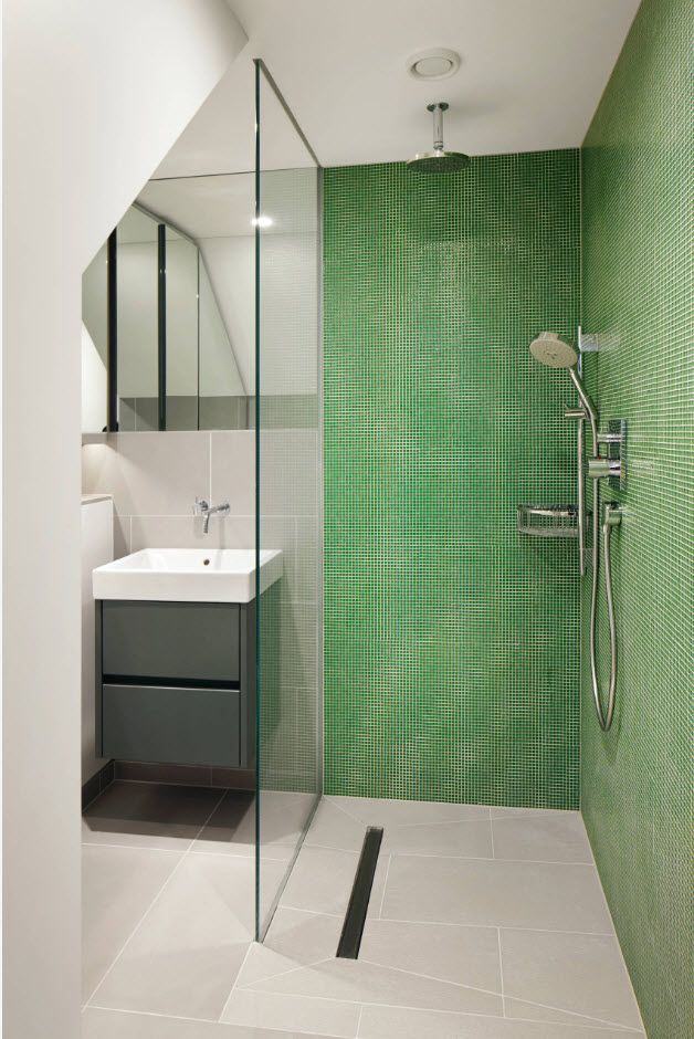Green accent mosaic wall of the shower zone