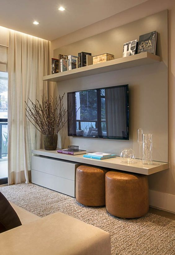 Modern casual design style with unusual contrustion of shelves around the TV
