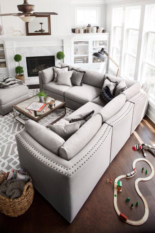 Modular gray sofa in the Scandi styled living