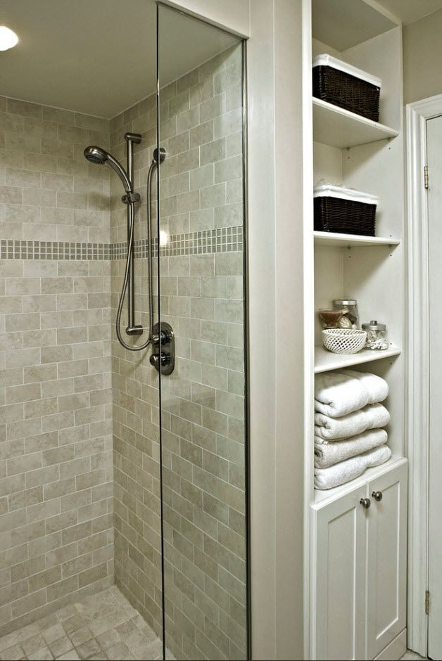 Glass partition for shower and away from cabinet