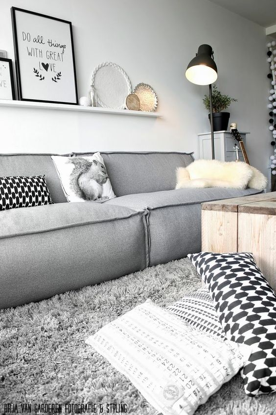 Gray casual design for the small living room
