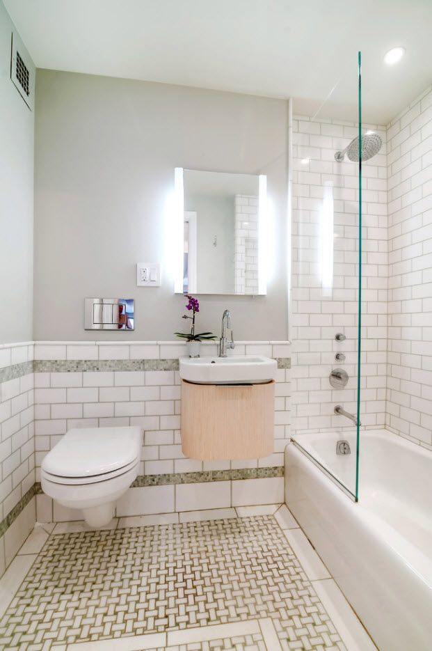 100 Small Bathroom Decoration Modern Design Ideas. White interior and subway tiling at the bottom tier