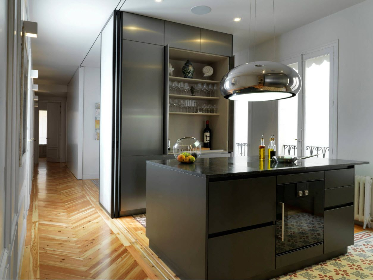 Dark kitchen facades and built-in appliances and light wooden parquet