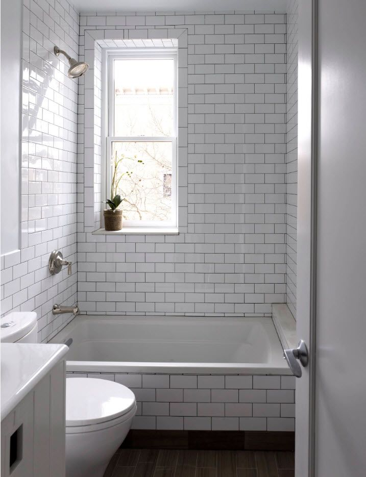 Subway tiles for bathroom with window