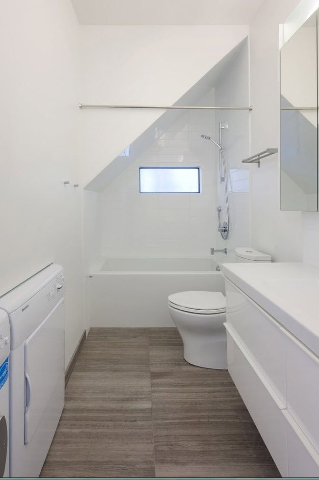 100 Small Bathroom Decoration Modern Design Ideas. White walls and wooden floor