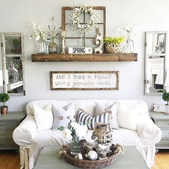 White shabby-chic and vintage mixed interior