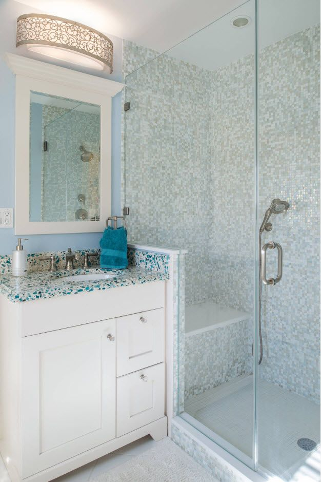 100 Small Bathroom Decoration Modern Design Ideas. Cold blue color palette for shower zone of mosaic