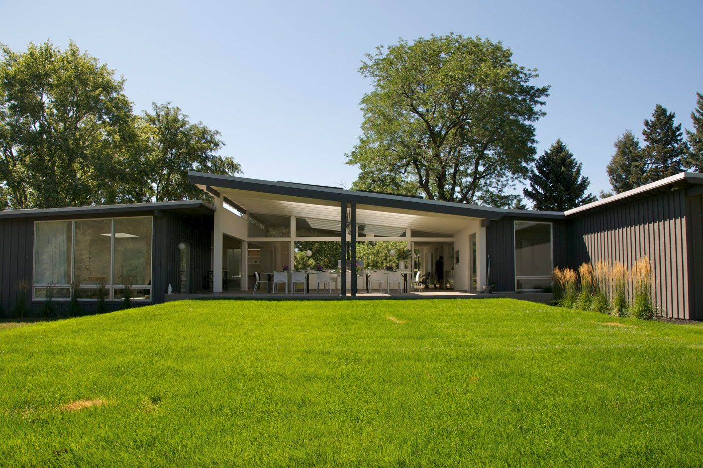 Grass yard and slanted shed roof of the modern styled cottage