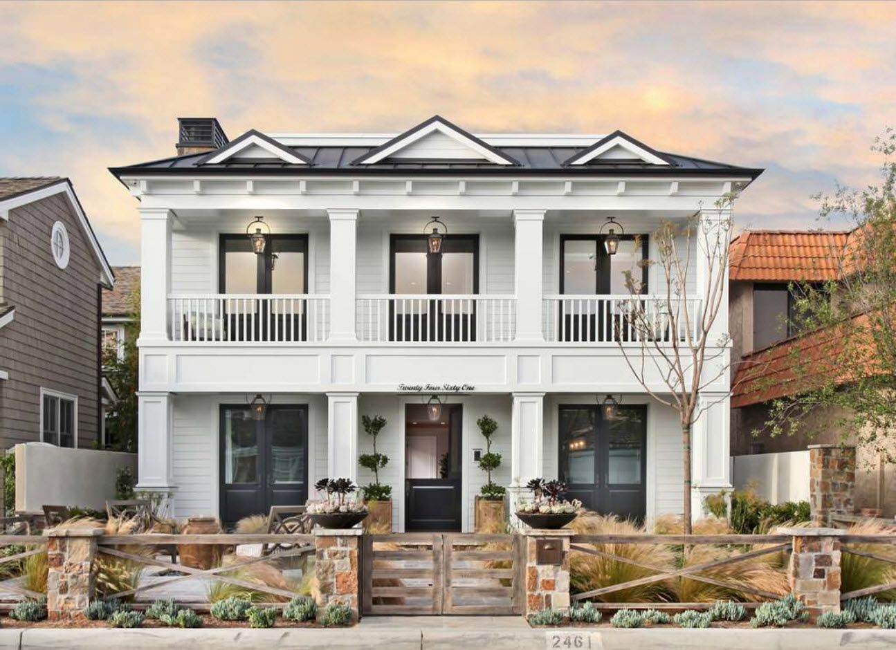 American or English classic style facade of geometrically right designed private house