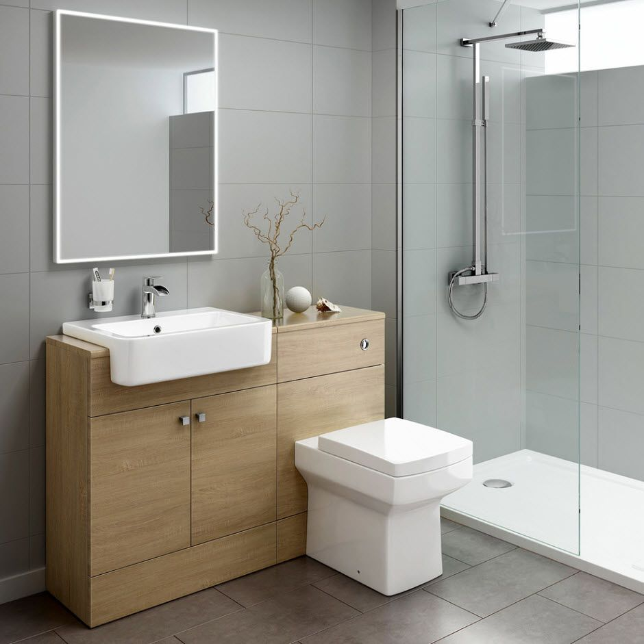 Light wooden vanity and the gray walls of the modern styled bathroom