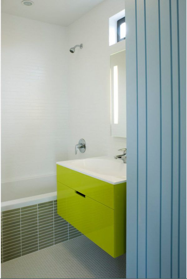100 Small Bathroom Decoration Modern Design Ideas. Lime glossy vanity accent