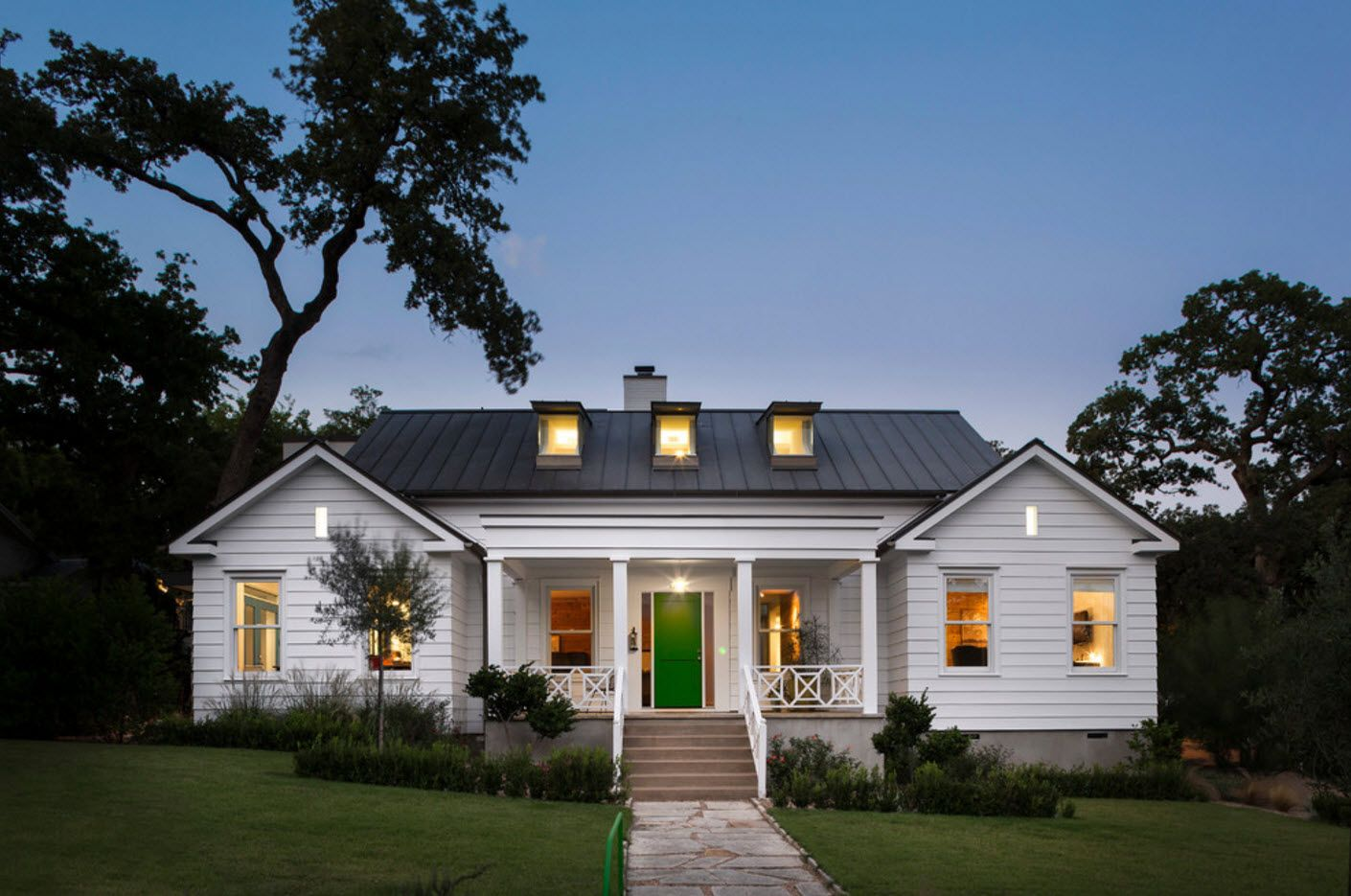 Modern suburban cottage with two porches