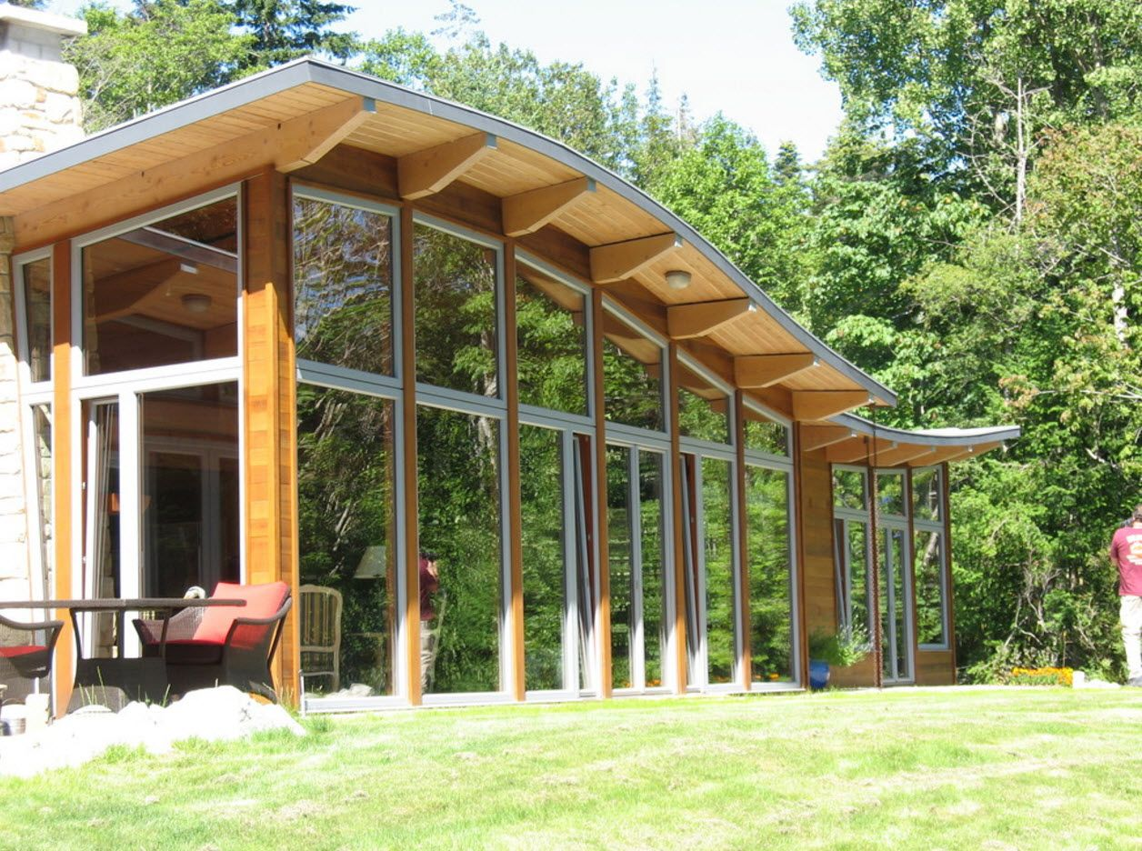 Complicated vaulted form of the roof of modern house