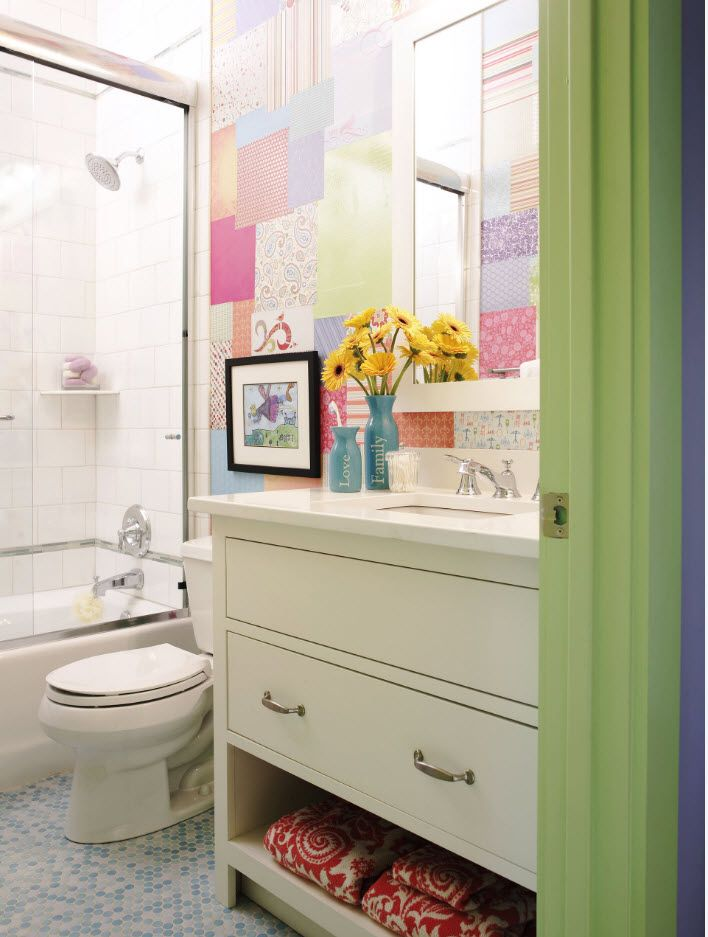 100 Small Bathroom Decoration Modern Design Ideas. Green and pink dilution of the classic white space
