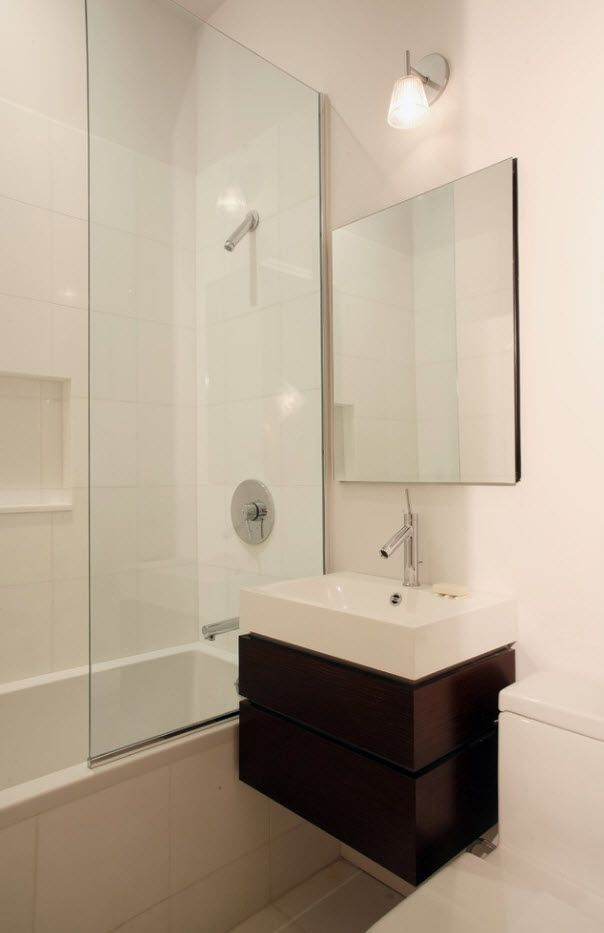 100 Small Bathroom Decoration Modern Design Ideas. Classic atmosphere with brown vanity accent