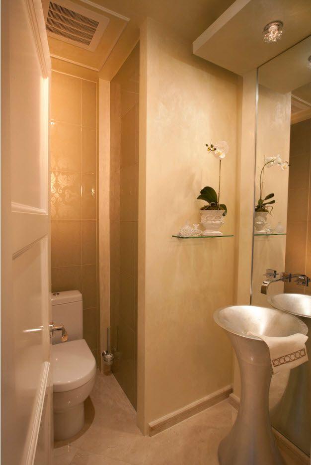 warm peachy color palette for minimalistic bathroom