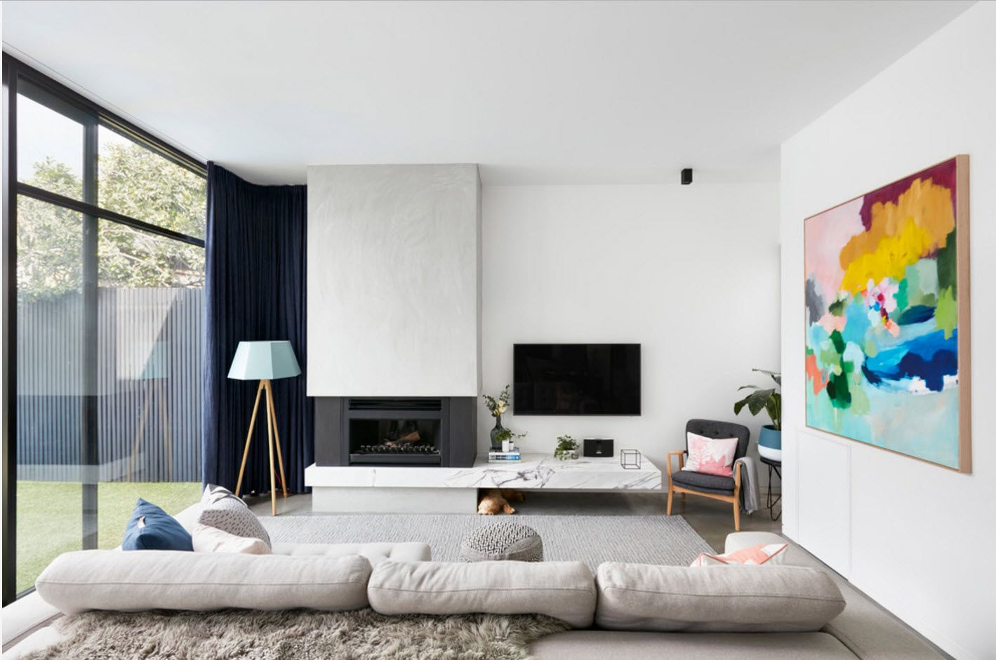White hi-tech design of the contrasting living room