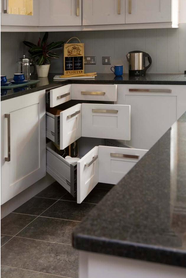 Angular straight corner form fo the modern l-shaped kitchen furniture