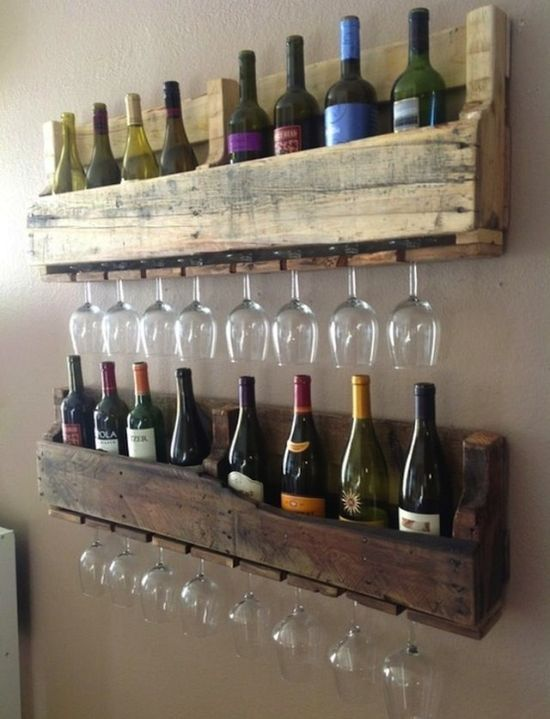 Gorgeous rustic wooden rack for bottles and wineglasses