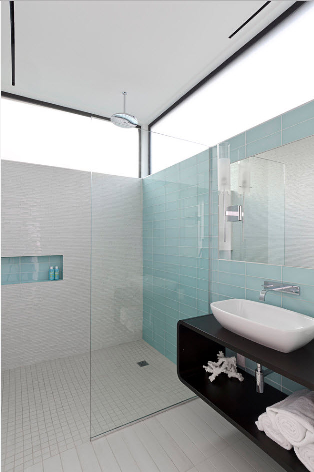 Navi blue accent wall in the modern bathroom space with open matted windows