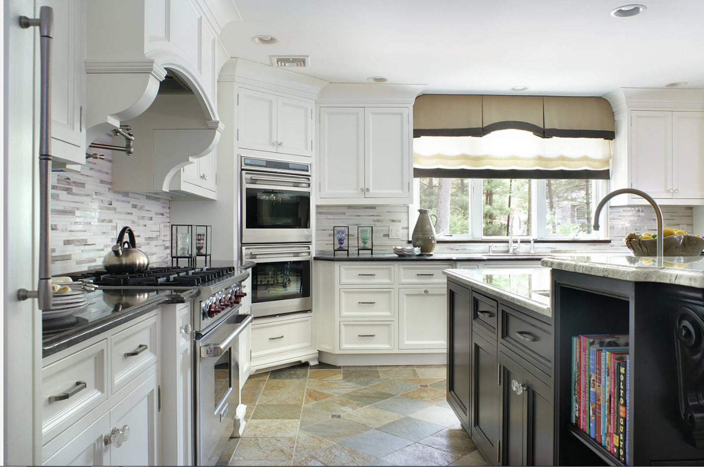 Rich classic kitchen interior in white with multifunctional angle