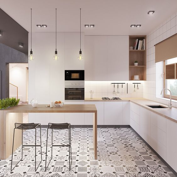 100+ Best Original Kitchen Design Ideas with Photos. White contmporary space with nice floor rhomb tiles